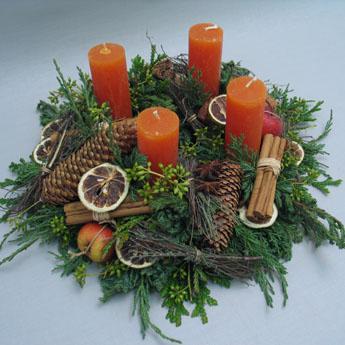Adventskranz in orange blumen maarsen for Adventskranz bestellen